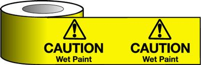 Tapes & signs 150 x 100 mm caution wet paint with symbol signs.