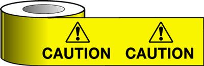 Tapes & signs 75 x 100 mm caution with symbol signs.