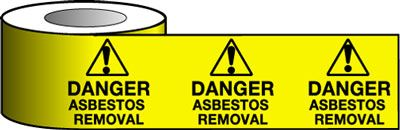 Tapes & signs 75 x 100 mm danger asbestos removal