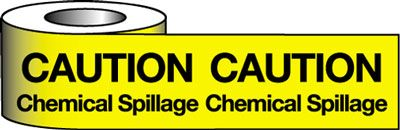 Tapes & signs 75 x 100 mm caution chemical spillage