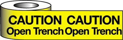 Tapes & signs 75 x 100 mm caution open trench