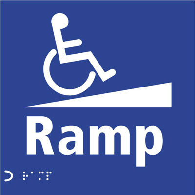 braille & tactile signs 150 x 150 mm ramp (disabled symbol)