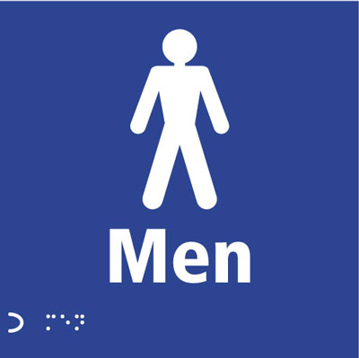 braille & tactile signs 150 x 150 mm men symbol sign.