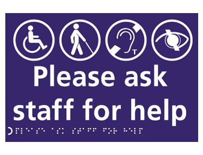 150 x 225 mm please ask staff for help sign