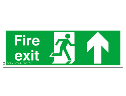 150 x 450 mm fire exit arrow up