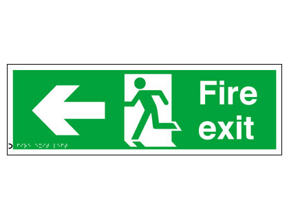 150 x 450 mm fire exit arrow left