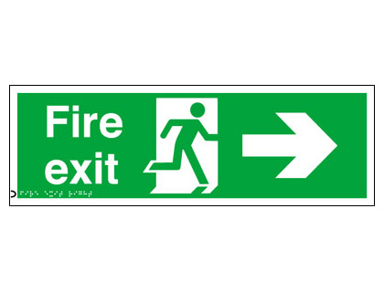 150 x 450 mm fire exit arrow right