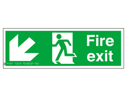 150 x 450 mm fire exit arrow down left