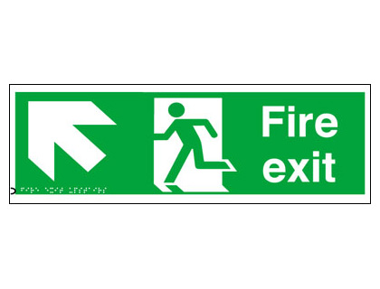 150 x 450 mm fire exit arrow up left
