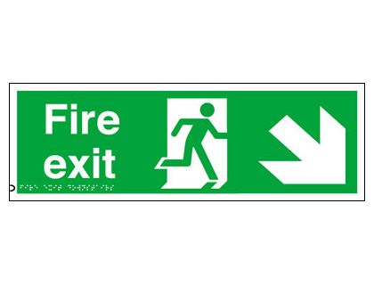 150 x 450 mm fire exit arrow down right
