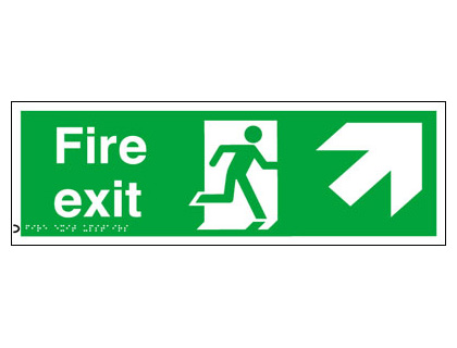 150 x 450 mm fire exit arrow up right