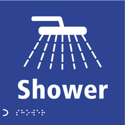 150 x 150 mm shower graphic & text