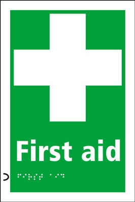 225 x 150 mm first aid & cross symbol signs.