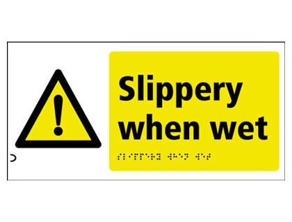 150 x 300 mm slippery when wet