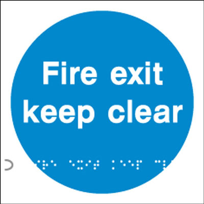 150 x 150 mm fire exit keep clear