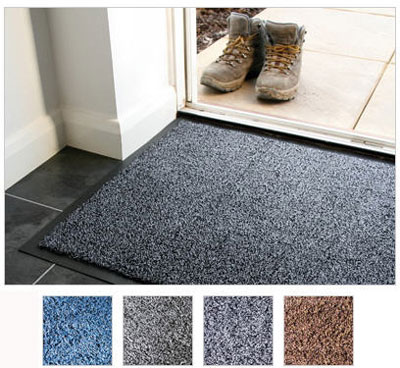 600 x 900 mm cotton plush entrance mat blue