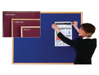 600 x 900 mm oak notice board burgundy felt burgundy