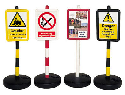 Queue barrier systems - 900 mm red & white post with hollow