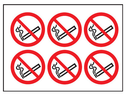 100 mm no smoking circular labels