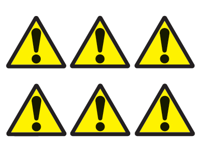sheet of 6 hazard symbols