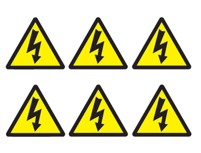 sheet of 6 electrical hazard symbols
