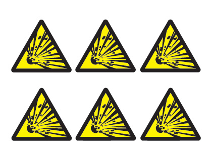 sheet of 6 explosive hazard symbols
