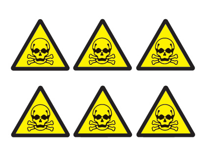 sheet of 6 toxic hazard symbols