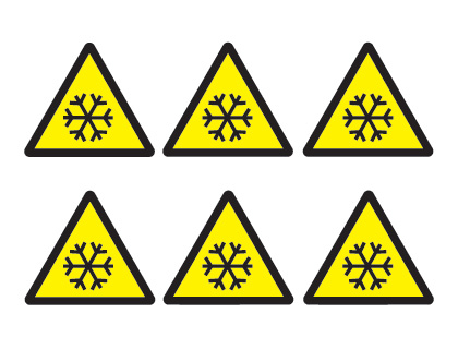 sheet of 6 low temperature symbols