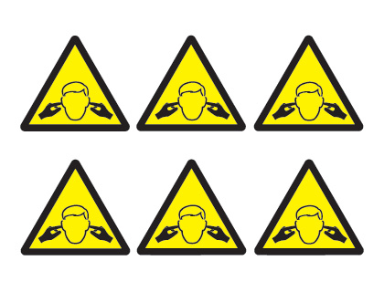 sheet of 6 noise hazard symbols