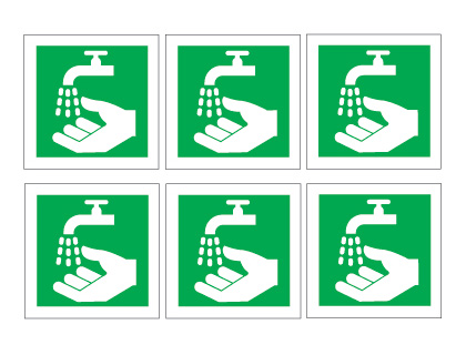 sheet of 6 wash hands