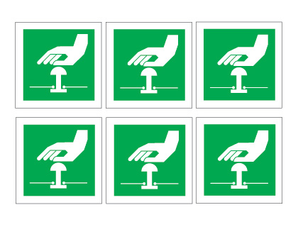 sheet of 6 emergency stop symbols