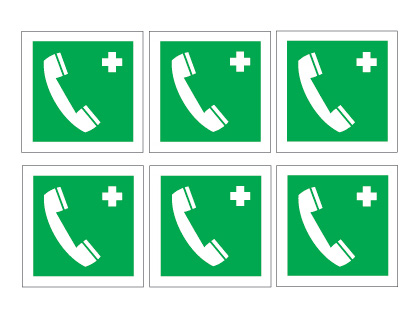 sheet of 6 emergency telephone symbols