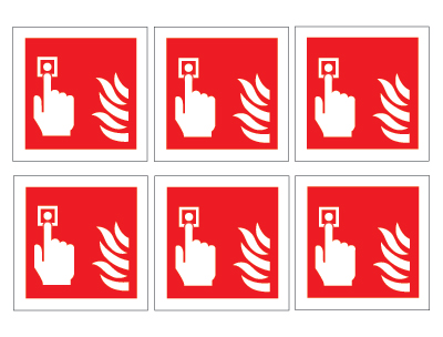 sheet of 6 fire alarm symbols