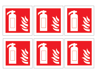 sheet of 6 fire extinguisher symbols