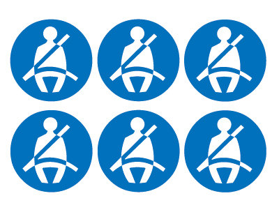 sheet of 6 wear seatbelt symbols