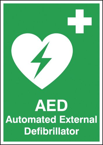 A2 AED automated external defibrillator self adhesive vinyl labels.