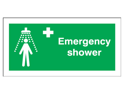 100 x 200 mm emergency shower self adhesive vinyl labels.