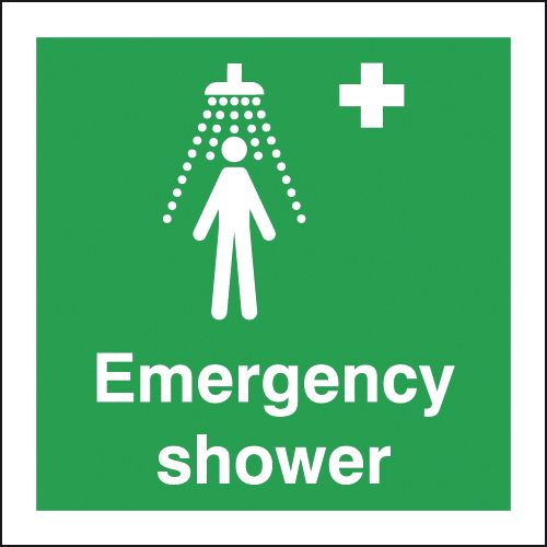 150 x 150 mm emergency shower self adhesive vinyl labels.
