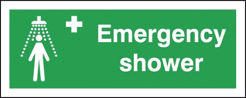 100 x 250 mm Emergency Shower Safety Labels