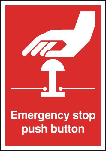 70 x 50 emergency stop push button self adhesive vinyl labels.