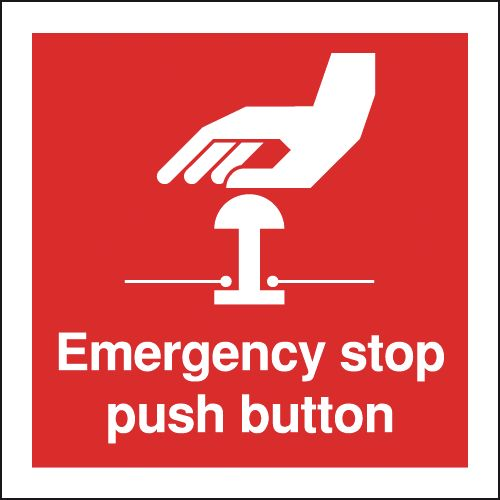 125 x 125 mm emergency stop push button self adhesive vinyl labels.