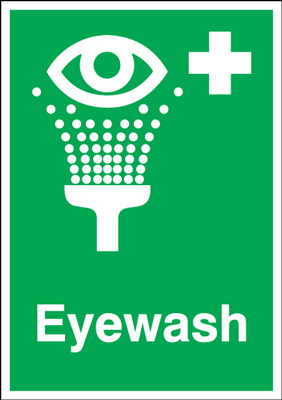 A2 eyewash self adhesive vinyl labels.