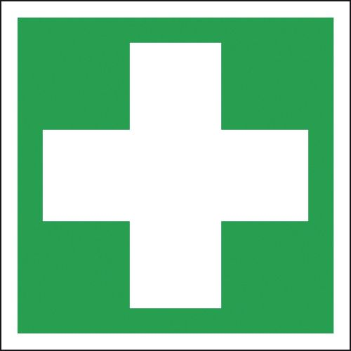 200 x 200 mm first aid SYMBOLS deluxe high gloss rigid plastic 1 mm sign