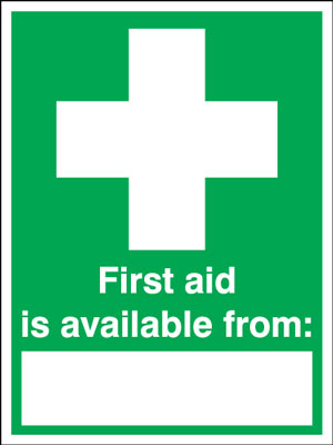 400 x 300 mm first aid is available from 1.2 mm rigid plastic signs with self adhesive backing.