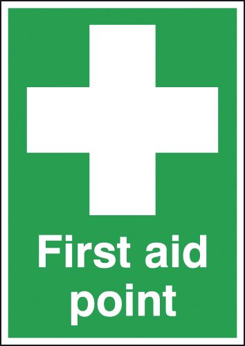 A2 first aid point self adhesive vinyl labels.