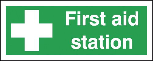 100 x 250 mm first aid station deluxe high gloss rigid plastic 1 mm sign