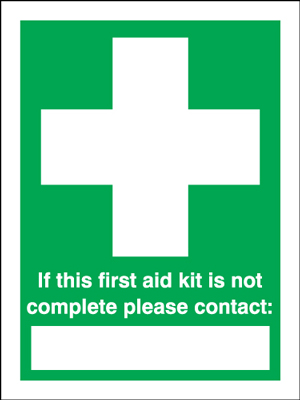 100 x 75 mm if this first aid kit is not self adhesive vinyl labels.