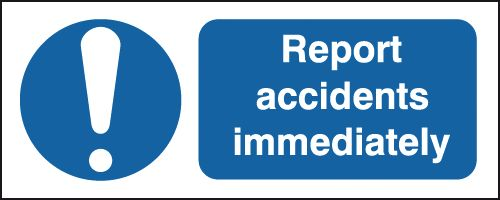 100 x 250 mm report accidents immediately self adhesive vinyl labels.