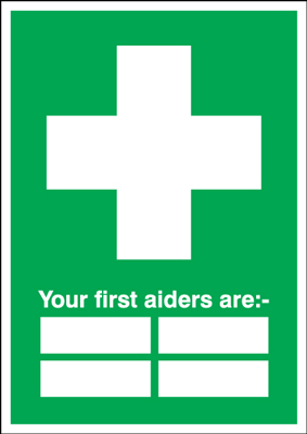 300 x 200 mm your first aiders are 1.2 mm rigid plastic signs with self adhesive backing.