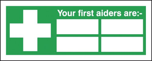 250 x 300 mm your first aiders are self adhesive vinyl labels.